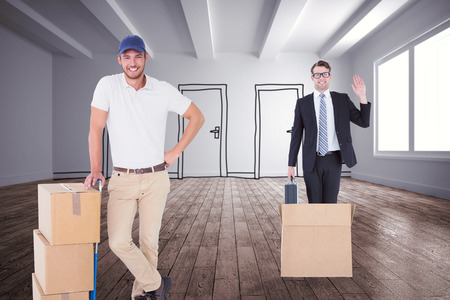 sala parto: Consegna Felice l'uomo appoggiato sul carrello di scatole contro porte doodle in camera