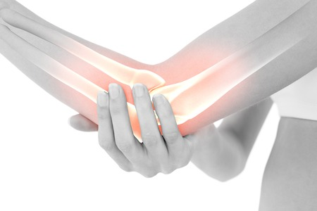 elbow pain: Digital composite of Highlighted bones of woman with elbow pain
