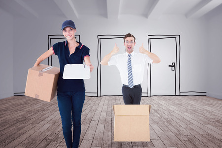 delivery room: Happy delivery woman holding cardboard box and clipboard against doodle doors in room Stock Photo