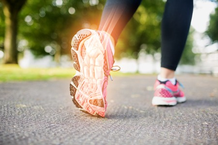 by feet: Digital composite of  Highlighted foot bones of jogging woman Stock Photo