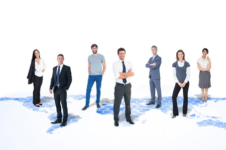bonhomme blanc: Business team sur fond de carte du monde Banque d'images