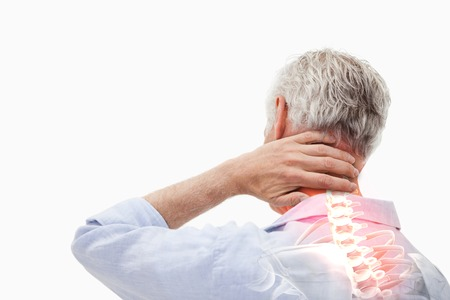 stress: Digital composite of Highlighted spine pain of man