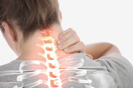 adult bones: Digital composite of  Highlighted spine of woman with neck pain