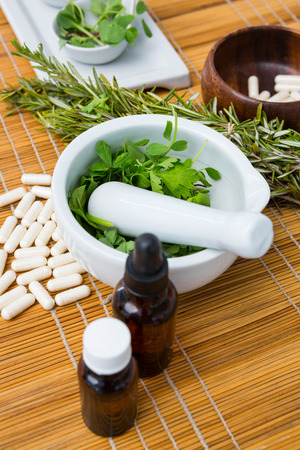 herbal: Natural products for aromatherapy on placemat Stock Photo