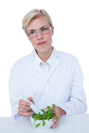 alternative practitioner: Doctor mixing herbs with mortar and pestle on white background Stock Photo