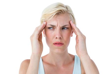 Attractive woman having headache on white background