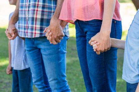 manos entrelazadas: la familia de la mano en el parque en un d�a soleado
