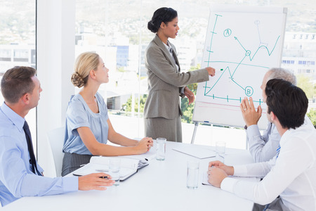young business people: Businesswoman explaining the graph on the whiteboard in the office
