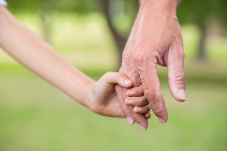 holding hands: Father and son holding hands in the park on a sunny day Stock Photo