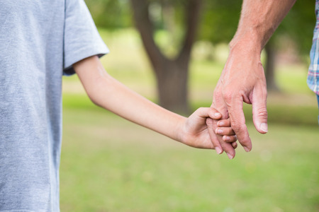 one parent: Father and son holding hands in the park on a sunny day Stock Photo