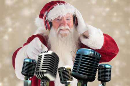 Santa is listening some music against white snowflake design on cream