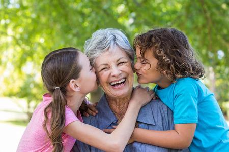 внук: Расширенная семья улыбаясь и поцелуи в парке в солнечный день