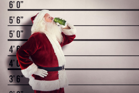 lineup: Father Christmas drinks beer with closed eyes against mug shot background