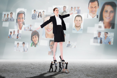 Business people supporting boss against business people profiles