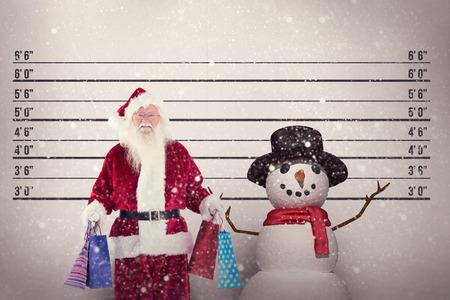 mug shot: Santa carries some christmas bags against mug shot background