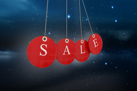twinkling: Red sale tags against stars twinkling in night sky Stock Photo