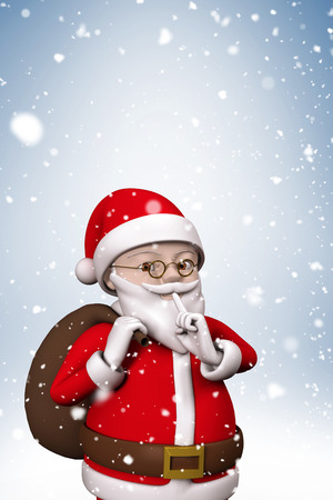 composite image: Composite image of cartoon santa with snow falling