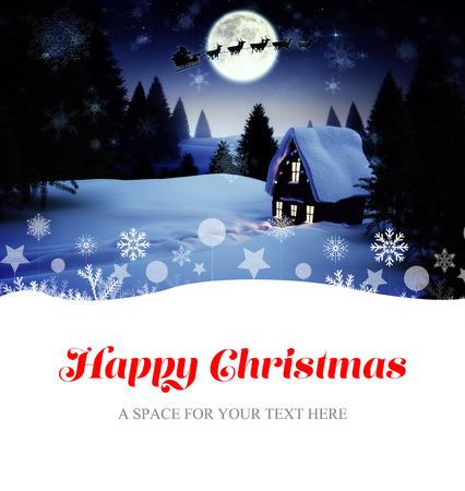 christmas house: Happy Christmas against christmas house under full moon
