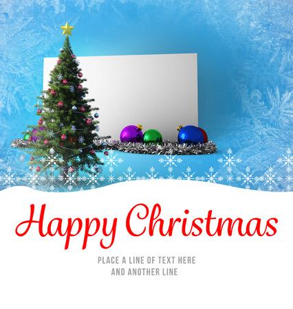 boldog karácsonyt: Happy Christmas against poster with christmas tree Stock fotó