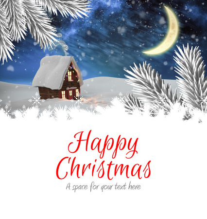 boldog karácsonyt: Happy christmas against christmas house Stock fotó