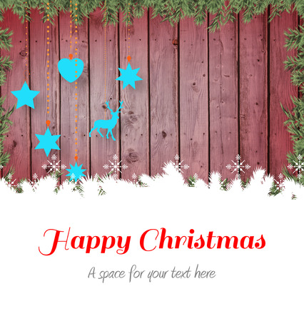 boldog karácsonyt: Happy Christmas against christmas baubles in front of wood Stock fotó