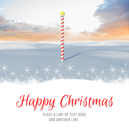 land scape: Happy Christmas against snowy land scape with pole Stock Photo