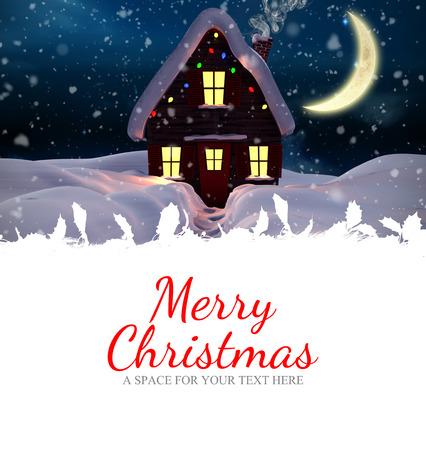 christmas house: Merry christmas against christmas house Stock Photo