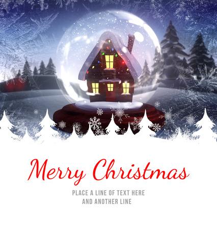 snow globe: Merry Christmas against christmas house in a snow globe