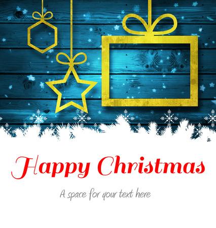 Feliz Navidad contra decoraciones de Navidad sobre la madera Foto de archivo