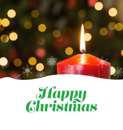 boldog karácsonyt: Happy christmas against focus on red christmas candle Stock fotó