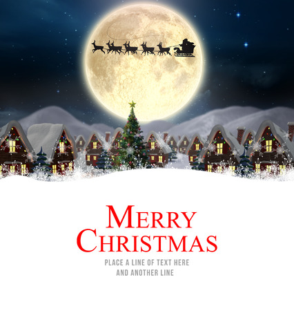 trineo: Feliz Navidad contra la entrega de santa presenta a la aldea