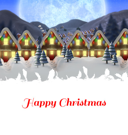 quaint: Happy Christmas against quaint town with bright moon Stock Photo