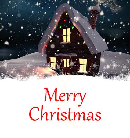 christmas house: Composite image of christmas card against christmas house Stock Photo