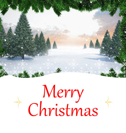 composite image: Composite image of christmas card against christmas scene