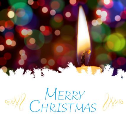 burning time: Christmas greeting card against candle burning against festive background Stock Photo