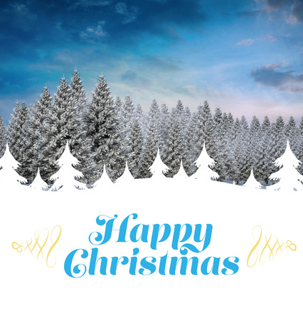 fir  tree: Christmas greeting card against fir tree forest in snowy landscape