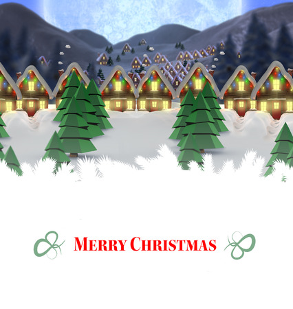quaint: Composite image of christmas card against quaint town with bright moon