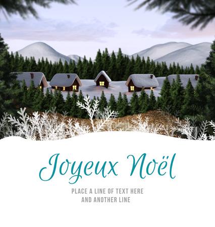 Joyeux noel against cute village in the snow Stock Photo