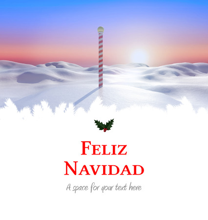 land scape: Feliz navidad against snowy land scape with pole