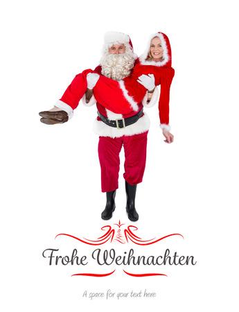mrs: Santa y se�ora Claus sonriendo a la c�mara contra la frontera