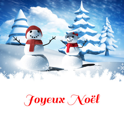 snow  snowy: Joyeux noel against snow man family Stock Photo