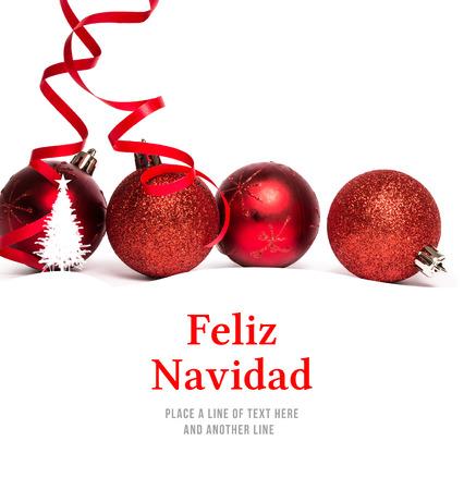 feliz: Feliz navidad against christmas tree border