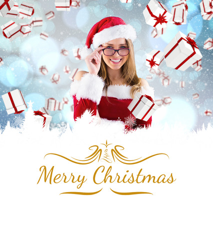 sexy santa girl: sexy santa girl wearing spectacles against border