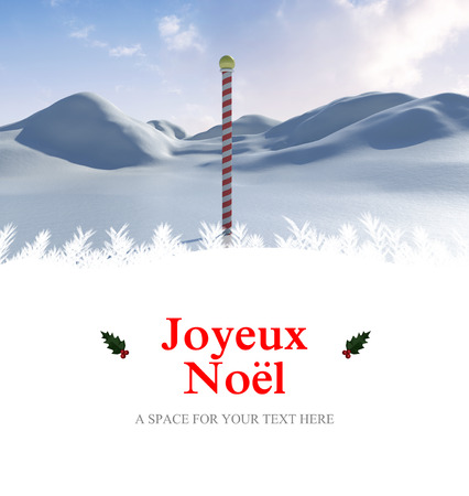 land scape: Joyeux noel against snowy land scape with pole