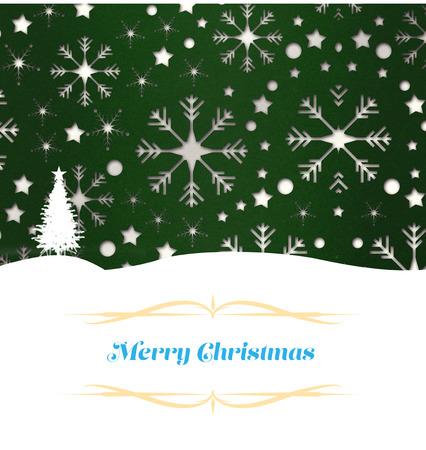 De groetkaart van Kerstmis tegen het patroon van het sneeuwvlokbehang