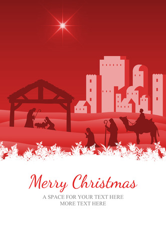 Merry Christmas against nativity scene vector under starry sky Stock Photo