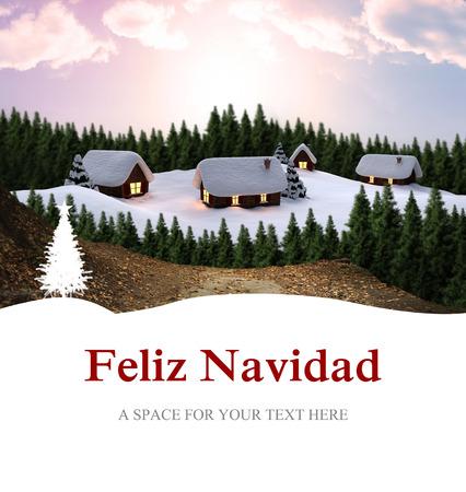 feliz navidad: Feliz navidad against cute village in the snow Stock Photo