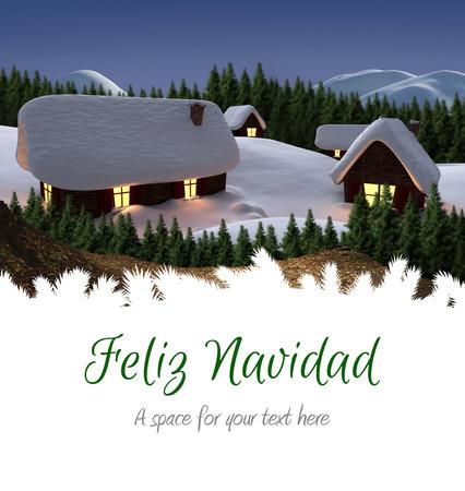 navidad navidad: Feliz navidad against cute village in the snow Stock Photo