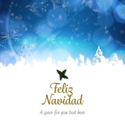 navidad navidad: Feliz navidad against snowy landscape with fir trees Stock Photo
