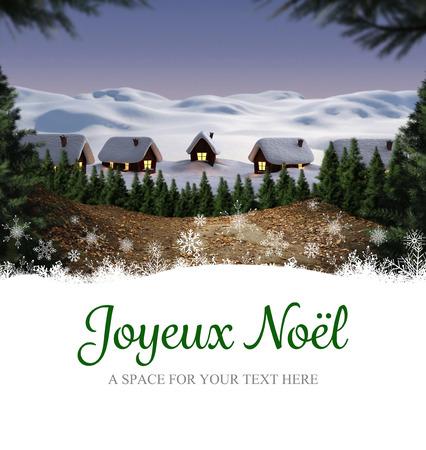 joyeux: Joyeux noel against cute village in the snow Stock Photo